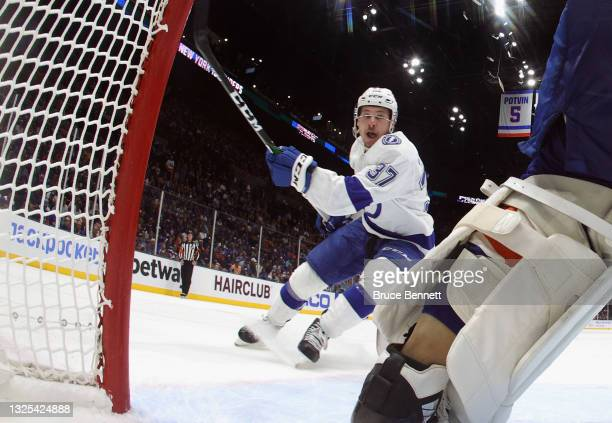 Yanni Gourde of the Tampa Bay Lightning skates against the New York Islanders in Game Six of the NHL Stanley Cup Semifinals during the 2021 NHL...