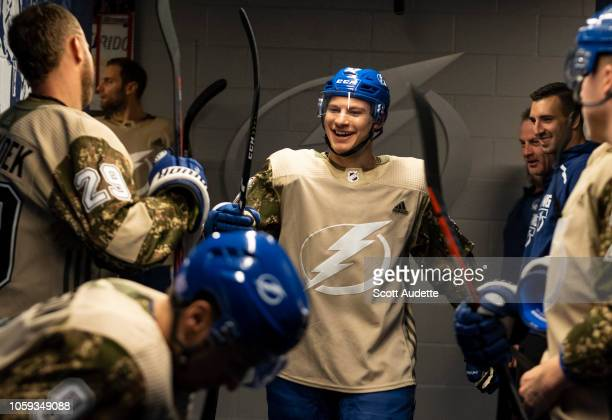 Yanni Gourde of the Tampa Bay Lightning wears a camouflage jersey for Military Appreciation Night before the game against the New York Islanders at...