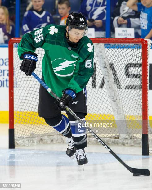 a92aa764b Yanni Gourde of the Tampa Bay Lightning wears a green St Patrick's Day  warmup jersey as