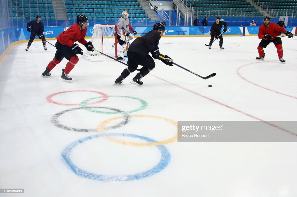 Yannic Seidenberg #36 and Leonhard Pföderl #83 of the Men's German Ice Hockey Team practice ahead of the PyeongChang 2018 Winter Olympic Games at the Gangneum Hockey Centre on February 9, 2018 in Pyeongchang-gun, South Korea.