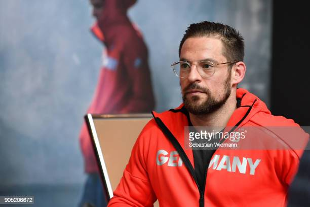 Yannic Seidenberg looks on at the 2018 PyeongChang Olympic Games German Team kit handover at Postpalast on January 15 2018 in Munich Germany