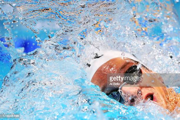 Yannick Agnel of France competes in the Swimming Men's 200m Freestyle Final on day eleven of the 15th FINA World Championships at Palau Sant Jordi on...
