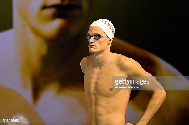 Yannick Agnel of France prepares to compete the 200m Men's freestyle on day two of the French National Swimming Championships on March 30 2016 in...