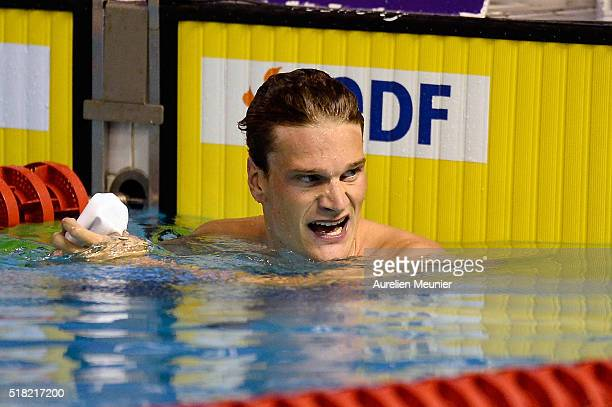 Yannick Agnel of France reacts after 200m Men's freestyle on day two of the French National Swimming Championships on March 30 2016 in Montpellier...
