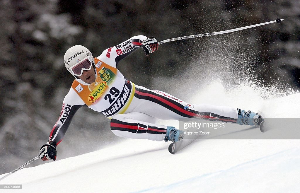 . Yannick Bertrand of France takes 11th place during the Alpine FIS Ski World Cup. Men's Downhill on March 01, 2008 in Kvitfjell, Norway.
