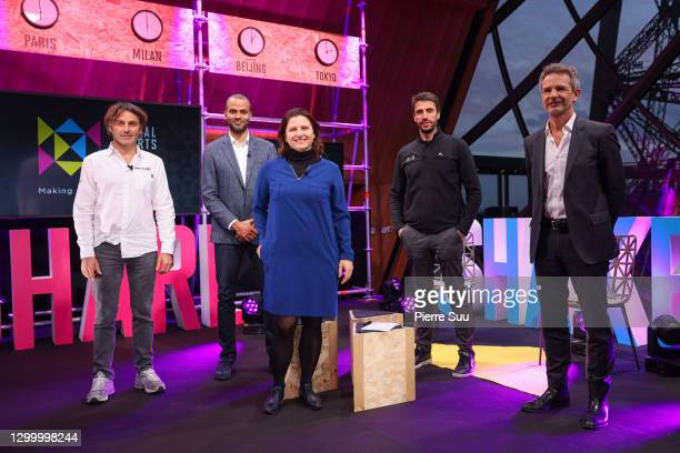 Yannick Bestaven, Tony Parker, Roxana Maracineanu, Tony Estanguet and Lucien Boyer attend the Global Sports Week 2021 Launch at Eiffel Tower on...