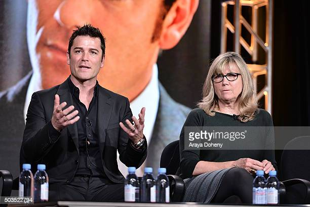 Yannick Bisson and Christina Jennings attend the Ovation 2016 Winter TCA Tour introducing three series featuring Rachel Hunter Reza Aslan Norman Lear...