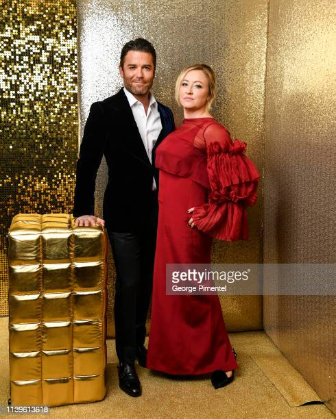 Yannick Bisson and wife Chantal Craig pose inside the 2019 Canadian Screen Awards Portrait Studio held at Sony Centre for the Performing Arts on...