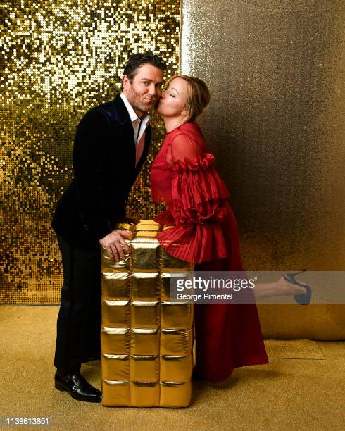 Yannick Bisson and wife Chantal Craig poses inside the 2019 Canadian Screen Awards Portrait Studio held at Sony Centre for the Performing Arts on...
