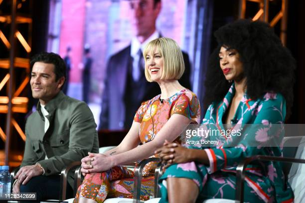 Yannick Bisson Lauren Lee Smith and Chantel Riley at Ovation Presents Upcoming Programming at 2019 Winter TCA Tour With Julia Stiles Lena Olin...