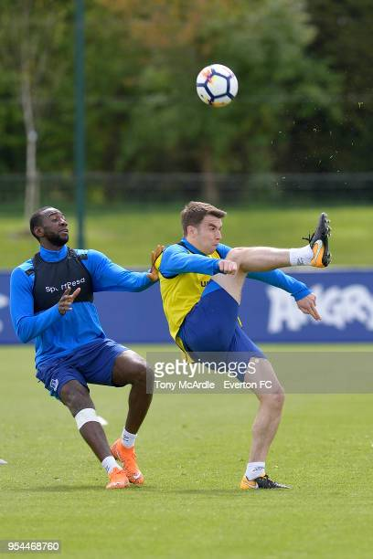 Yannick Bolasie and Seamus Coleman during the Everton FC training session at USM Finch Farm on May 1 2018 in Halewood England