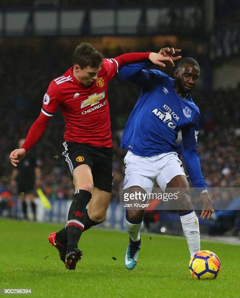Yannick Bolasie and Victor Lindelof of Manchester United in action during the Premier League match between Everton and Manchester United at Goodison...