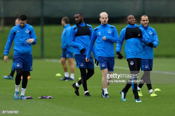 Yannick Bolasie Davy Klaassen and Ademola Lookman during the Everton training session ahead of the UEFA Europa League match against Atalanta at USM...