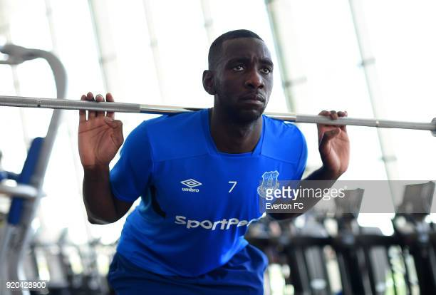Yannick Bolasie exercises during the Everton warm weather training camp at NAS Sports Complex on February 17 2018 in Dubai United Arab Emirates