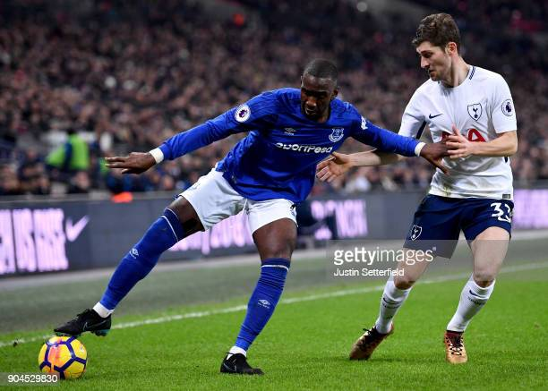 Yannick Bolasie is challenged by Ben Davies of Tottenham Hotspur during the Premier League match between Tottenham Hotspur and Everton at Wembley...