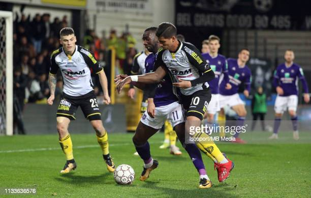Yannick Bolasie of Anderlecht and Jose Cevallos of Lokeren fight for the ball during the Jupiler Pro League match between KSC Lokeren OV and RSC...