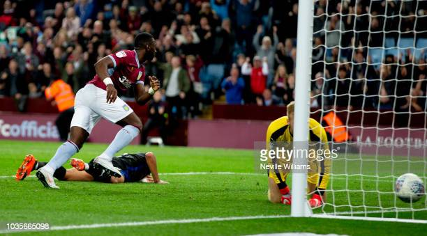 Yannick Bolasie of Aston Villa scores for Aston Villa during the Sky Bet Championship match between Aston Villa and Rotherham United at Villa Park on...