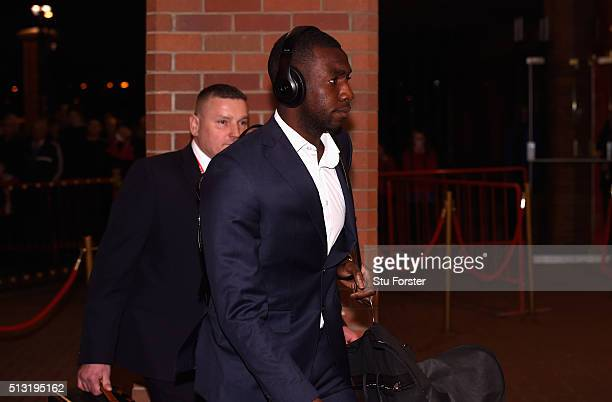 Yannick Bolasie of Crystal Palace arrives prior to the Barclays Premier League match between Sunderland and Crystal Palace at Stadium of Light on...