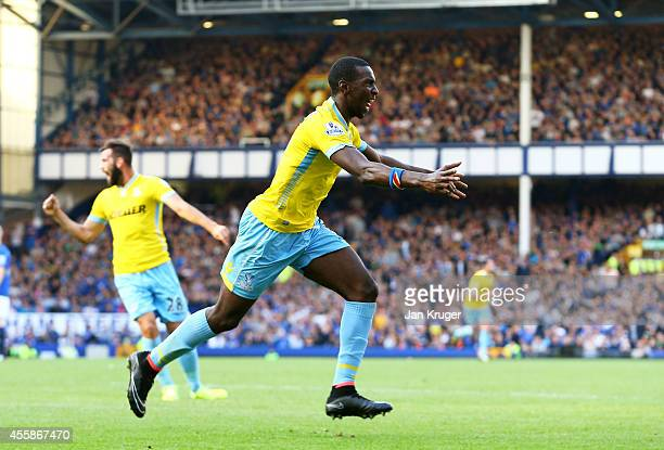Yannick Bolasie of Crystal Palace celebrates after scoring his team's third goal during the Barclays Premier League match between Everton and Crystal...