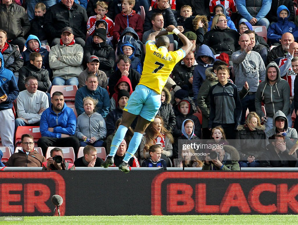 Yannick Bolasie of Crystal Palace celebrates his second goal during the Barclays Premier League between Sunderland AFC and Crystal Palace at the Stadium of Light on April 11, 2015 in Sunderland, England.