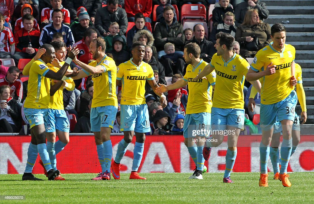Yannick Bolasie of Crystal Palace (L) celebrates his second goal during the Barclays Premier League between Sunderland AFC and Crystal Palace at the Stadium of Light on April 11, 2015 in Sunderland, England.