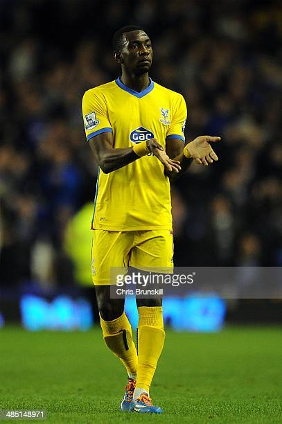 Yannick Bolasie of Crystal Palace gestures to the supporters following the Barclays Premier League match between Everton and Crystal Palace at...