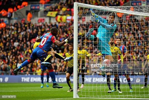 Yannick Bolasie of Crystal Palace heads past goalkeeper Costel Pantilimon of Watford to score their first goal during The Emirates FA Cup semi final...