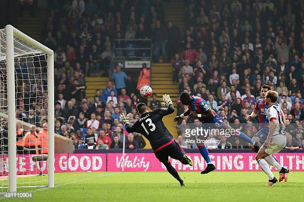 Yannick Bolasie of Crystal Palace scores his team's first goal during the Barclays Premier League match between Crystal Palace and West Bromwich...