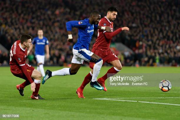 Yannick Bolasie of Everton and Emre Can challenge for the ballduring The Emirates FA Cup Third Round match between Liverpool and Everton at the...