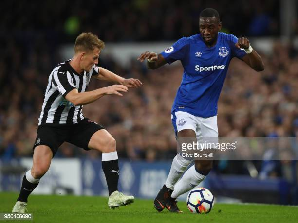 Yannick Bolasie of Everton and Matt Ritchie of Newcastle United battle for possession during the Premier League match between Everton and Newcastle...