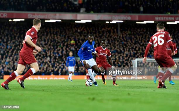 Yannick Bolasie of Everton and Sadio Mane challenge for the ball during The Emirates FA Cup Third Round match between Liverpool and Everton at the...
