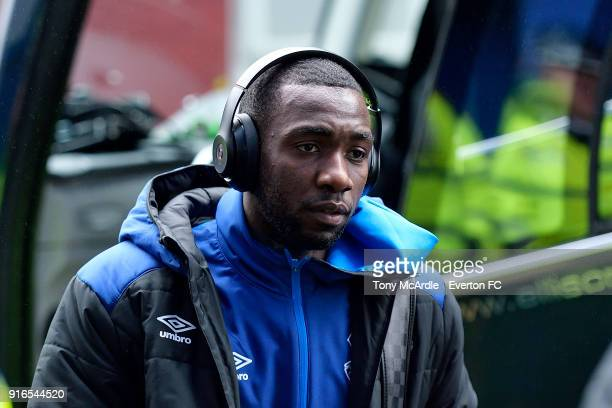 Yannick Bolasie of Everton arrives before the Premier League match between Everton and Crystal Palace at Goodison Park on February 10 2018 in...