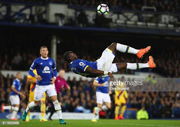 Yannick Bolasie of Everton attempts an overhead kick during the Premier League match between Everton and Crystal Palace at Goodison Park on September...