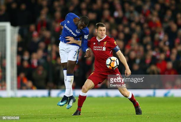 Yannick Bolasie of Everton battles with James Milner of Liverpool during the Emirates FA Cup third round match between Liverpool and Everton at...