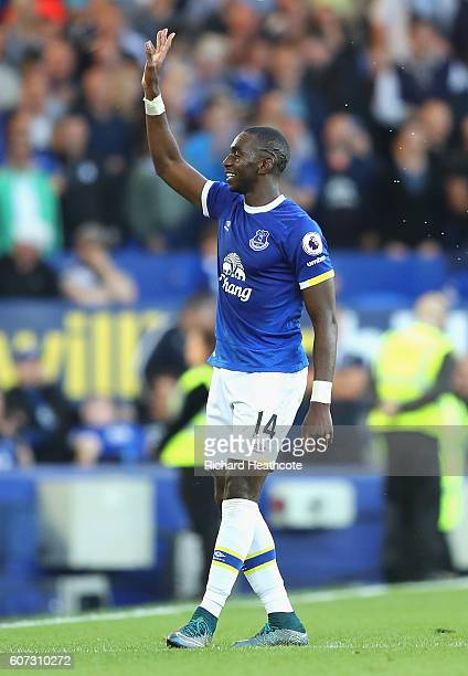 Yannick Bolasie of Everton celebrates as Romelu Lukaku of Everton scores his sides third goal during the Premier League match between Everton and...