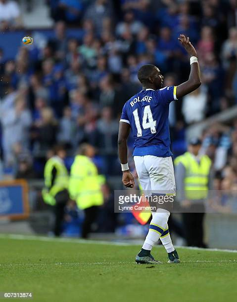 Yannick Bolasie of Everton celebrates scoring during the Premier League match between Everton and Middlesbrough at Goodison Park on September 17 2016...