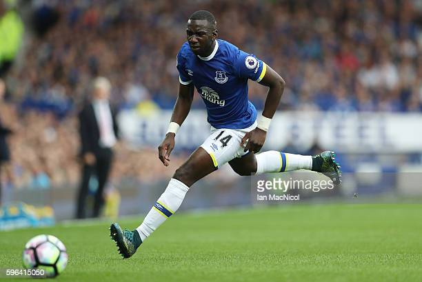 Yannick Bolasie of Everton chases the ball during the Premier League match between Everton and Stoke City at Goodison Park on August 27 2016 in...