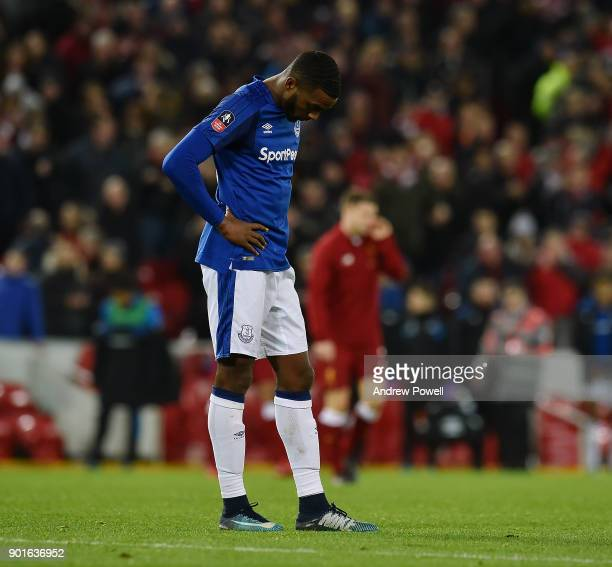 Yannick Bolasie of Everton dejaected at the end of The Emirates FA Cup Third Round match between Liverpool and Everton at Anfield on January 5 2018...