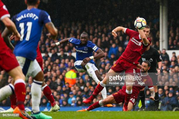 Yannick Bolasie of Everton has a shot at goal which is saved during the Premier League match between Everton and Liverpool at Goodison Park on April...