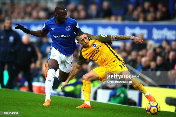 Yannick Bolasie of Everton in action with Anthony Knockaert of Brighton and Hove Albion during the Premier League match between Everton and Brighton...