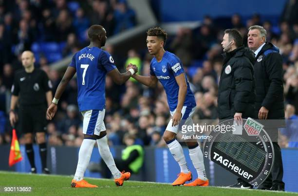 Yannick Bolasie of Everton is substituted for Mason Holgate during the Premier League match between Everton and Brighton and Hove Albion at Goodison...