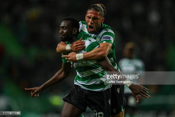 Yannick Bolasie of Sporting CP celebrates scoring Sporting CP goal with Pedro Mendes of Sporting CP during the UEFA Europa League group D match...