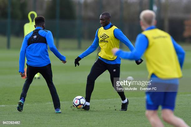 Yannick Bolasie on the ball during the Everton FC training session at USM Finch Farm on April 5 2018 in Halewood England