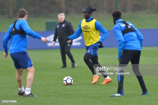 Yannick Bolasie on the ball during the Everton FC training session at USM Finch Farm on April 12 2018 in Halewood England