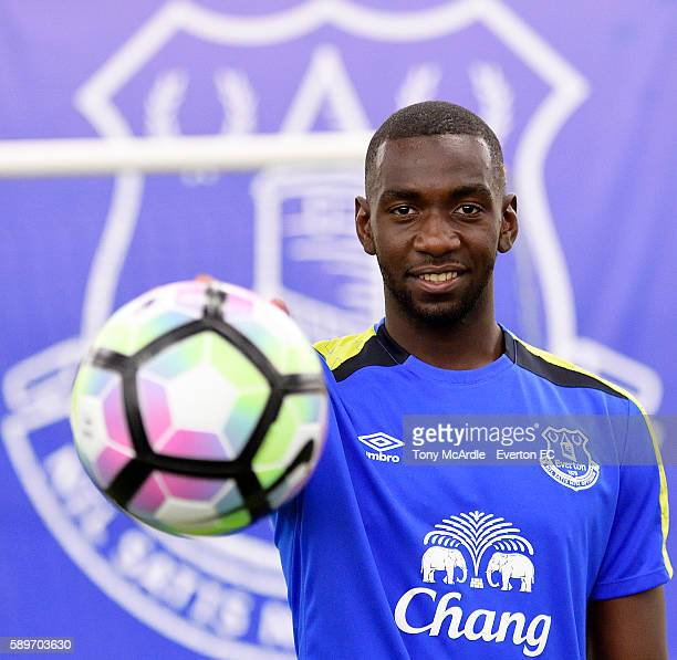 Yannick Bolasie poses for a photo at Finch Farm before being unveiled as a new Everton player on August 14 2016 in Halewood England