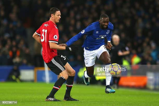 Yannick Bolasie skips past Nemanja Matic of Manchester United during the Premier League match between Everton and Manchester United at Goodison Park...