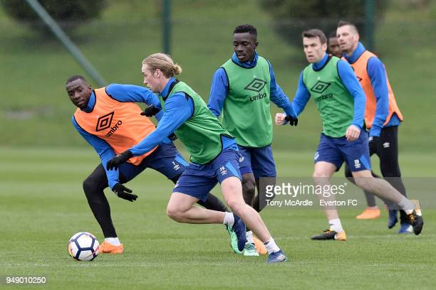 Yannick Bolasie Tom Davies Idrissa Gueye and Seamus Coleman during the Everton FC training session at USM Finch Farm on April 17 2018 in Halewood...