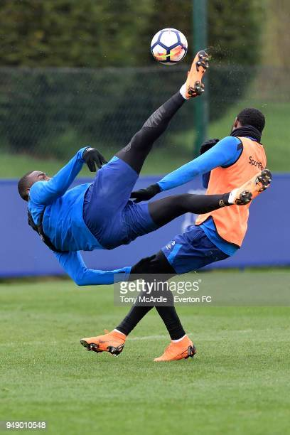 Yannick Bolasie with an overhead kick during the Everton FC training session at USM Finch Farm on April 17 2018 in Halewood England