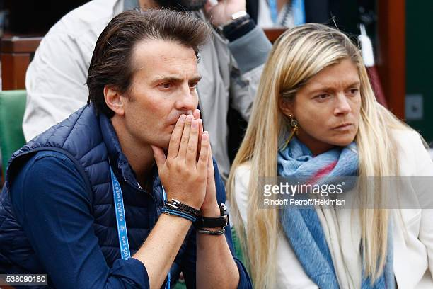 Yannick Bollore and guest attend the French Tennis Open Day Fourteen at Roland Garros on June 4 2016 in Paris France