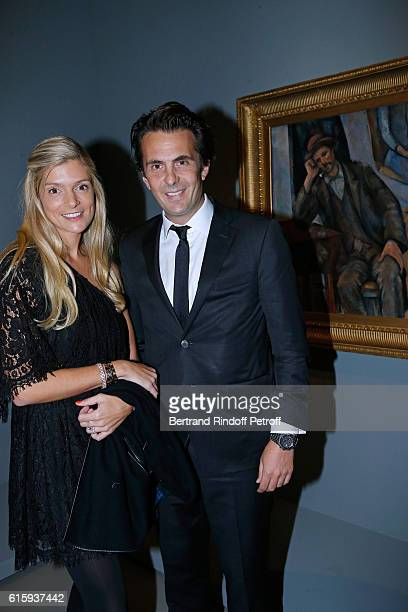 Yannick Bollore and his wife Chloe attend the 'Icones de l'Art Moderne La Collection Chtchoukine' Cocktail at Fondation Louis Vuitton on October 20...